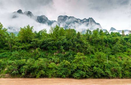 Traveling by ship between the mountains on the Yangtze River photo