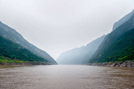 Journey to the Yangtze River along the beautiful mountains Stock Photo