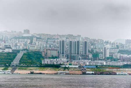 yangtze: YANGTZE - AUGUST 22: Journey on the Yangtze River with views of the Chinese city, on August 22.2012, Yangtze, China