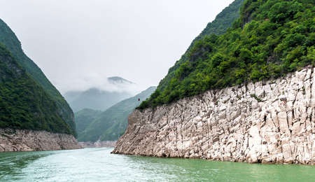 tributary: Journey to the tributary of the Yangtze with a mountain view