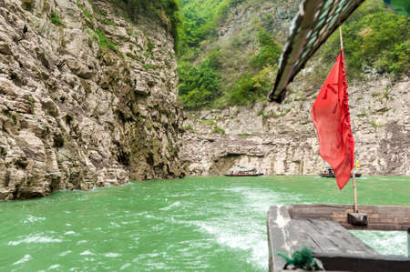 Tourists traveling by canoe on the Yangtze River in China