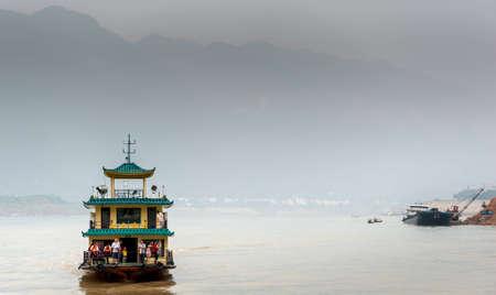 YANGTZE - AUGUST 22: Excursion the ship sails on the Yangtze River, on August 22.2012, Yangtze, China Stock Photo - 16377763