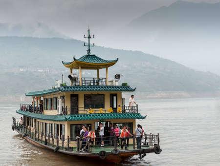 YANGTZE - AUGUST 22: Excursion the ship sails on the Yangtze River, on August 22.2012, Yangtze, China Stock Photo - 16377766