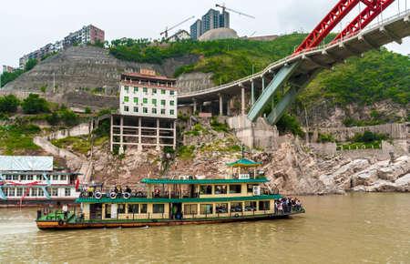 yangtze river: YANGTZE - AUGUST 22: Excursion the ship sails on the Yangtze River, on August 22.2012, Yangtze, China Editorial