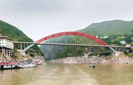YANGTZE - AUGUST 22: Chinese Yangtze River Bridge, on August 22.2012, Yangtze, China Editorial