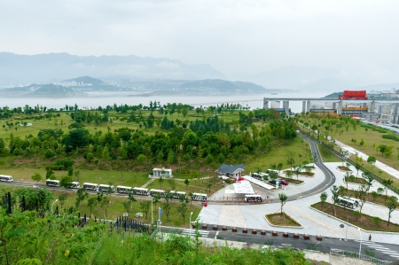 Buses bring tourists on excursion to the Three Gorges Dam in China Stock Photo - 16461412