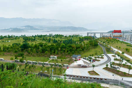 three gorges dam: Buses bring tourists on excursion to the Three Gorges Dam in China
