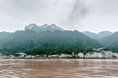 Sandouping view of the city  in China Three Gorges Dam photo