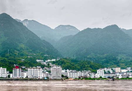three gorges dam: Sandouping view of the city in China Three Gorges Dam