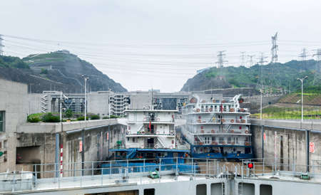 SANDOUPING-AUGUST 21: Chinese ships standing near the Three Gorges Dam, on August 21,2012, Sandouping, China