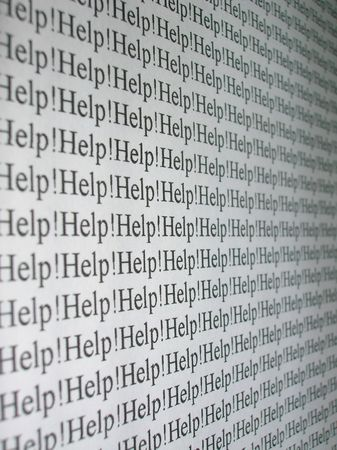The word Help!, repeated several times. Stock Photo
