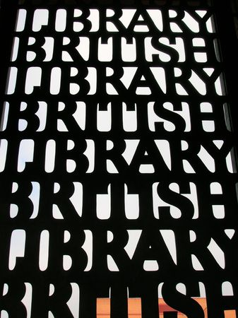 Sign for the British Library, London.