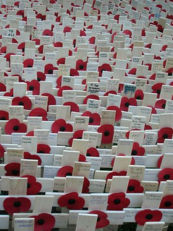 Memorial outside Londons Westminster Abbey for Remembrance Day. Editorial