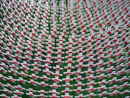 memorial cross: Memorial fuera de la Abad�a de Westminster de Londres para el D�a del Recuerdo.