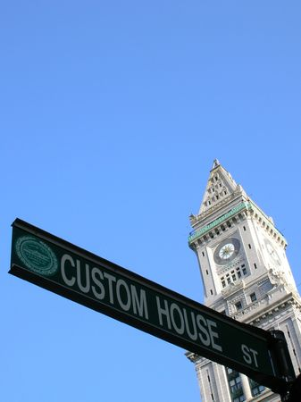 Custom House Tower and street sign, Boston.