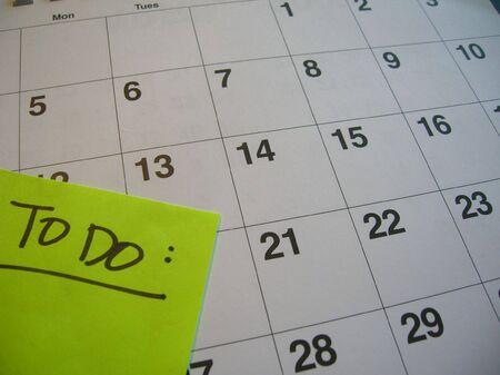 allocate: To Do List on a calendar. Stock Photo