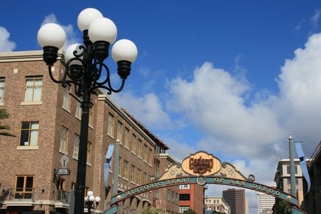 Sign at the entrance to San Diegos Gaslamp District Stock Photo