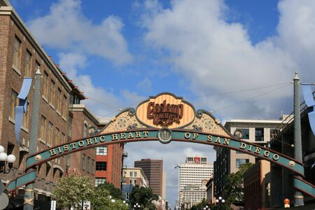 diego: Sign at the entrance to San Diegos Gaslamp District Stock Photo