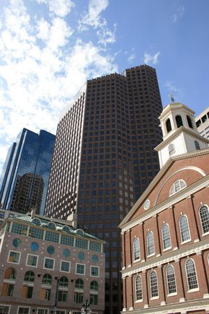 cluster house: Faneuil Hall and downtown skyline, Boston. Stock Photo