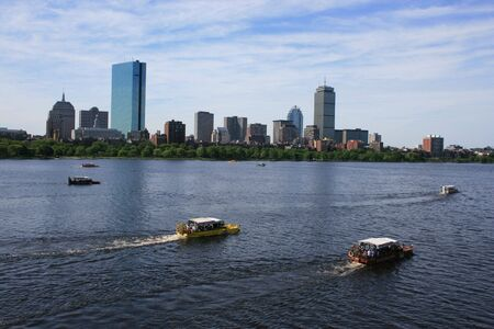 river: Duck Boats on Bostons Charles River