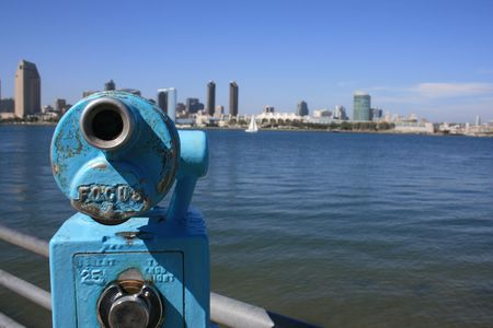 Coin-operated view finders pointed at downtown San Diego from Coronado.