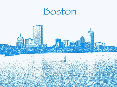Een illustratie van de Boston Back Bay skyline.      Stockfoto