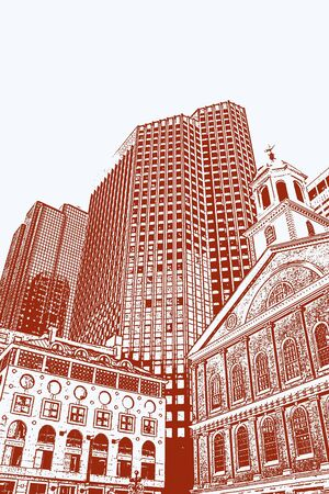 An illustration of Bostons Faneuil Hall and downtown skyline. Фото со стока
