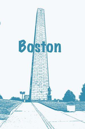 An illustration of the Bunker Hill Monument, Boston.