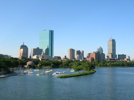 boston: Bostons Back Bay skyline including the Hatch Shell.