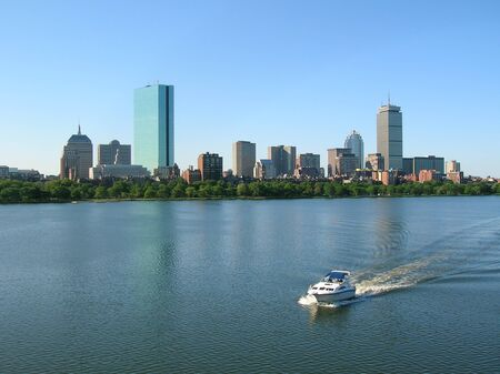 prudential: Boat on Bostons Charles River. Stock Photo