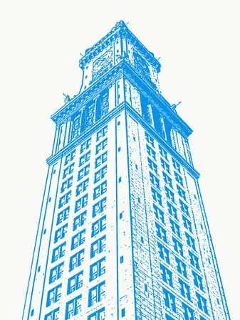 clocktower: An illustration of Bostons Custom House Tower.