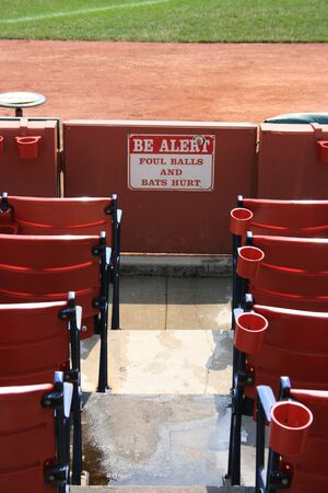 foul: Sign warning people about foul balls at Fenway Park, Boston. Stock Photo