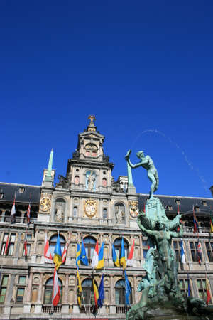 dutch: Town Hall and the Brabo Fountain in Antwerp, Belgium. Stock Photo