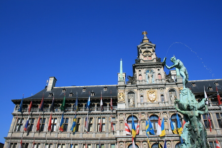 Town Hall and the Brabo Fountain in Antwerp, Belgium. Stock Photo