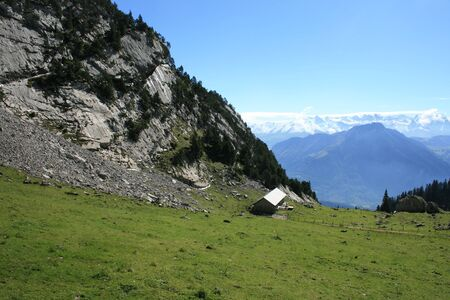 Shack on the side of Mount Pilatus in the Swiss Alps. Stock Photo