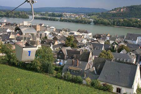rudesheim: Gondola over Rudesheim vineyards, Germany. Stock Photo