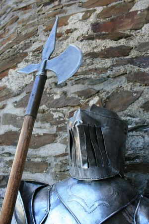 View of a medieval knight in armor.