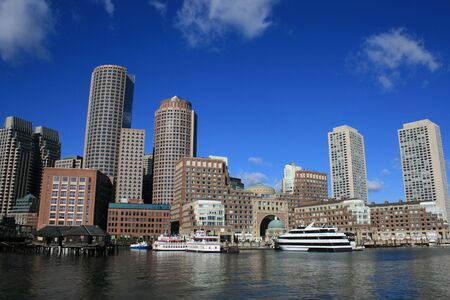 A view of Boston Harbor including Rowes Wharf.