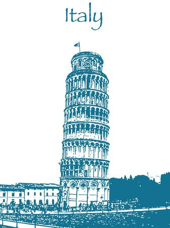 An illustration of the leaning tower of Pisa.