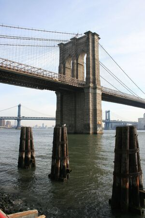 A view of the Brooklyn Bridge (Manhattan Bridge in the background).