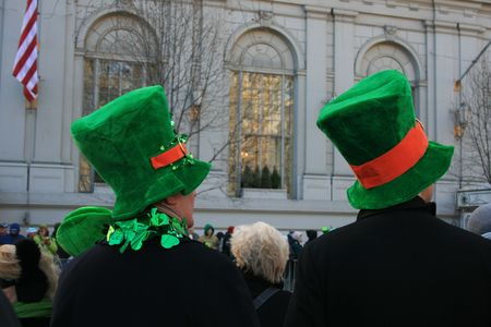 Watching the St. Patrick's  Day Parade in New York City.