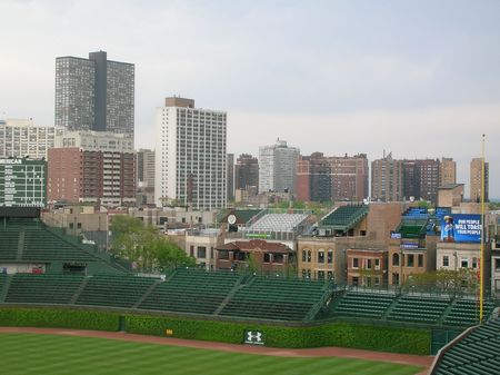 A view of Wrigley field in Chicago. Stock Photo