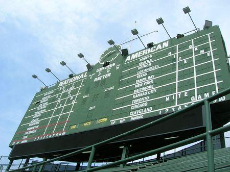 baseball dugout: Cuadro de Chicago en Wrigley Field.