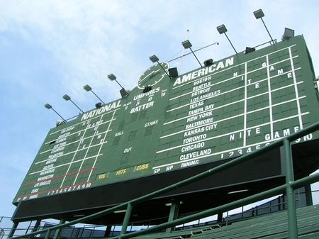 baseball dugout: Scoreboard at Chicagos Wrigley Field.