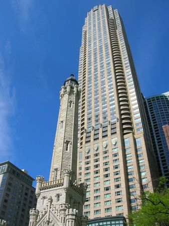 magnificent mile: Downtown Chicago including the Water Tower and a modern high-rise.