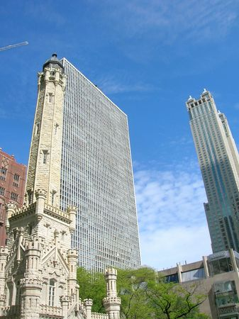 magnificent mile: Downtown Chicago including the Water Tower and modern buildings. Stock Photo