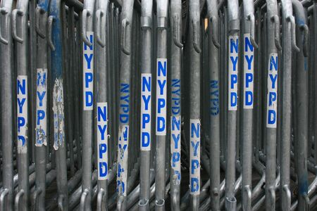 New York Police Department (NYPD) barricades set up in Manhattan.