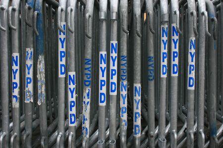 barricades: New York Police Department (NYPD) barricades set up in Manhattan.