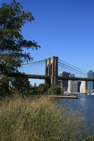 Park along the East River near the Brooklyn Bridge. photo