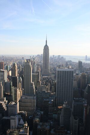 Empire State Building and Lower Manhattan skyline.
